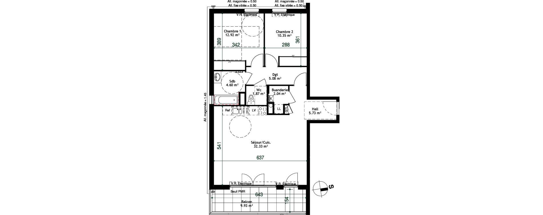 Appartement T3 de 74,92 m2 à Cessy Centre