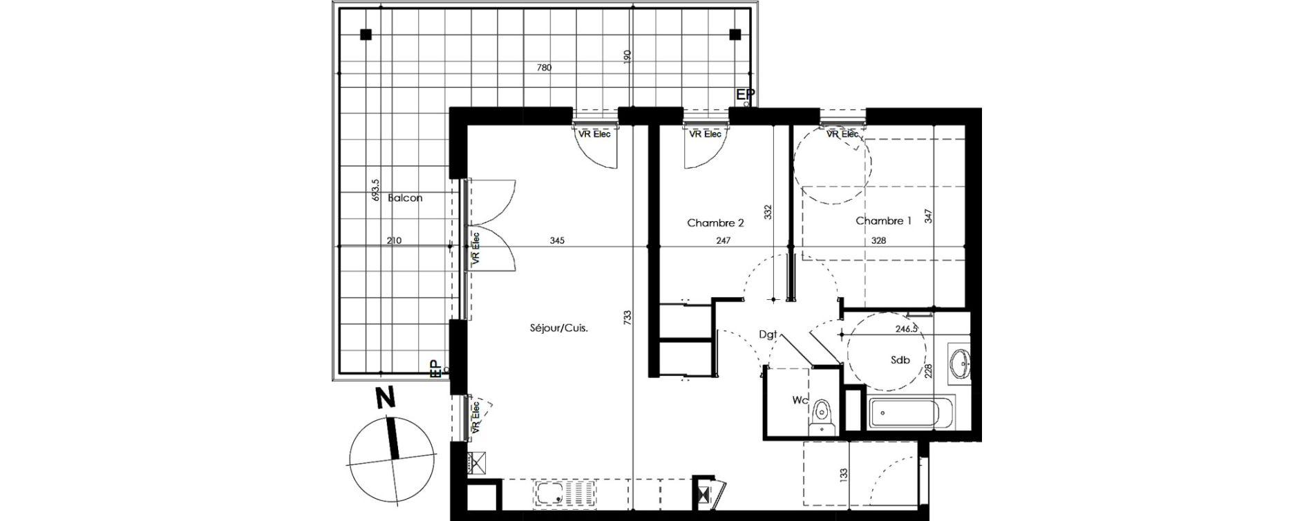 Appartement T3 de 64,82 m2 Crozet Centre