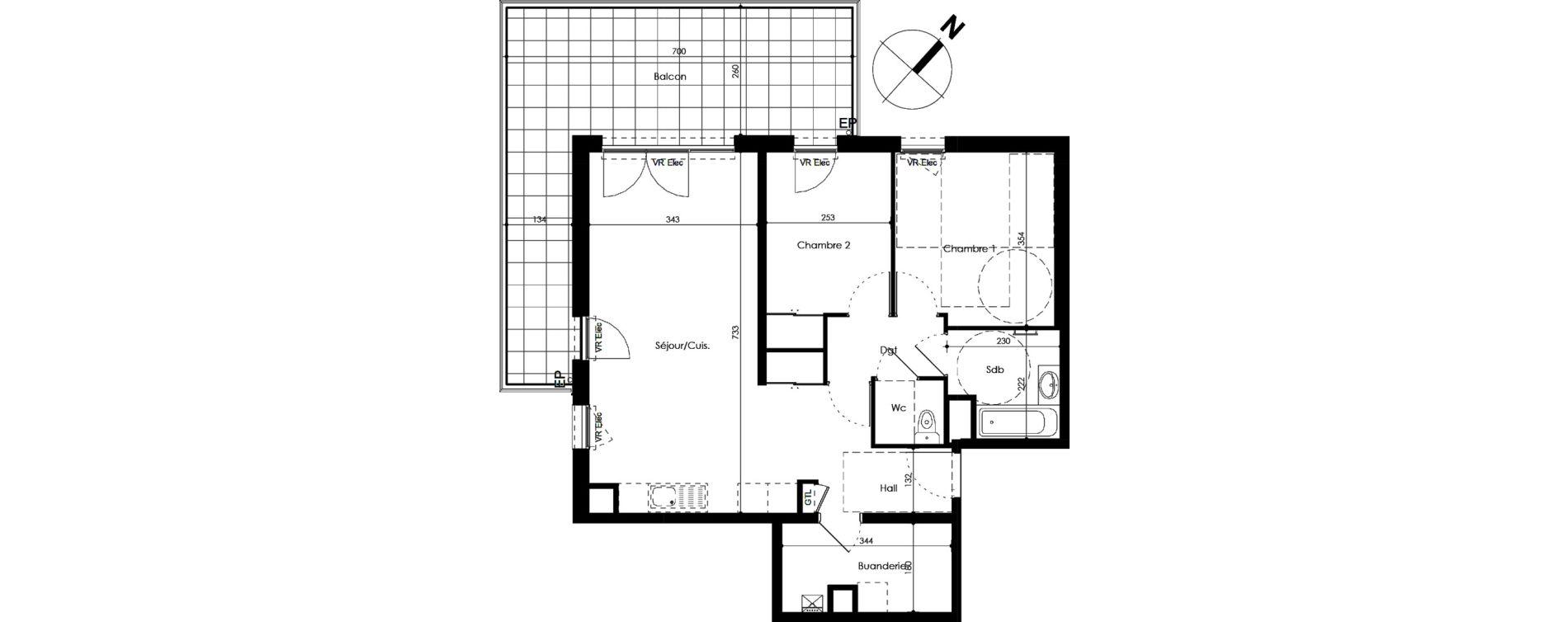 Appartement T3 de 68,95 m2 Crozet Centre