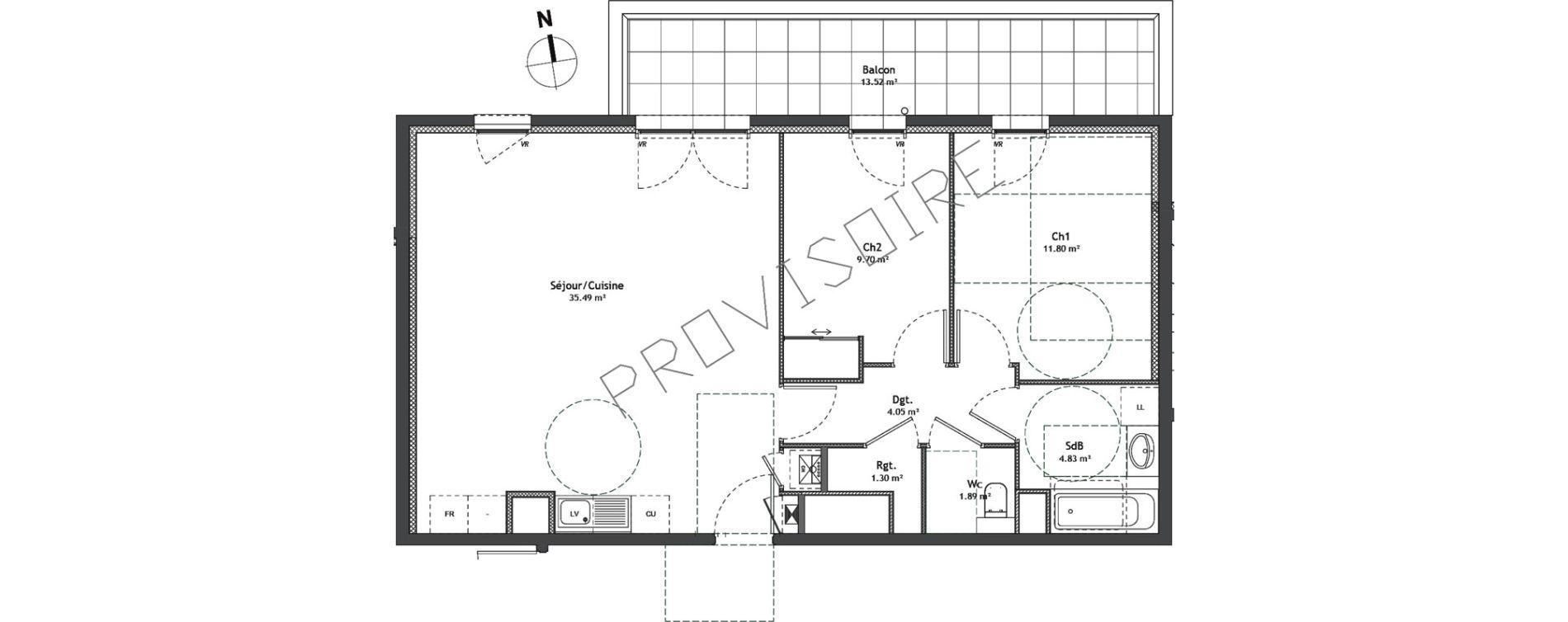 Appartement T3 de 69,06 m2 à Divonne-Les-Bains Centre