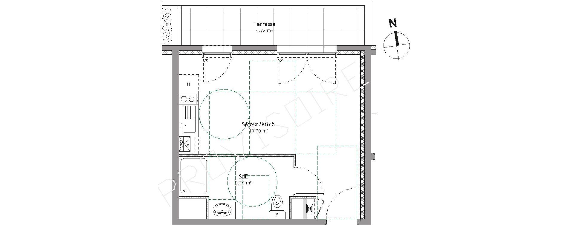 Studio de 25,49 m2 à Divonne-Les-Bains Centre