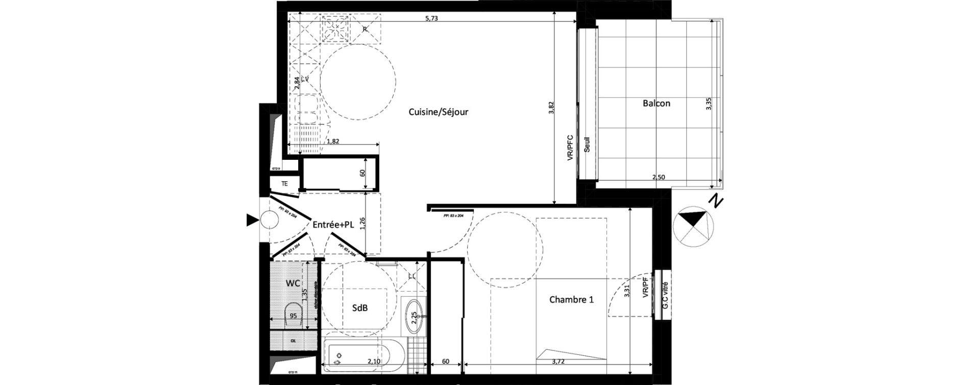 Appartement T2 de 45,37 m2 à Ferney-Voltaire Centre