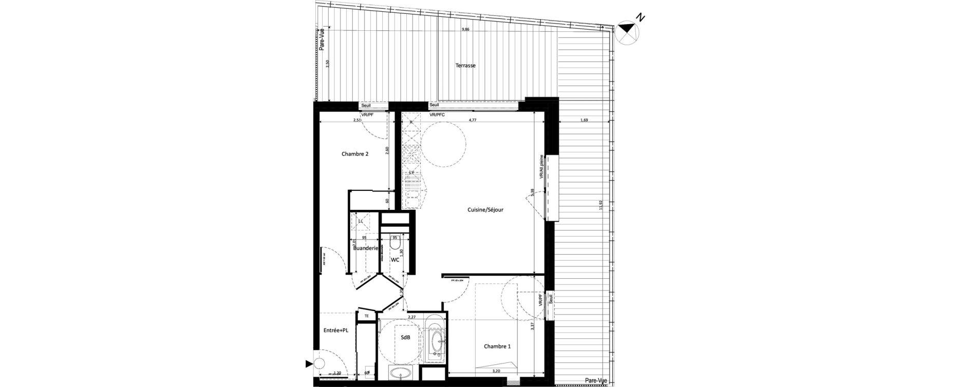Appartement T3 de 62,45 m2 à Ferney-Voltaire Centre