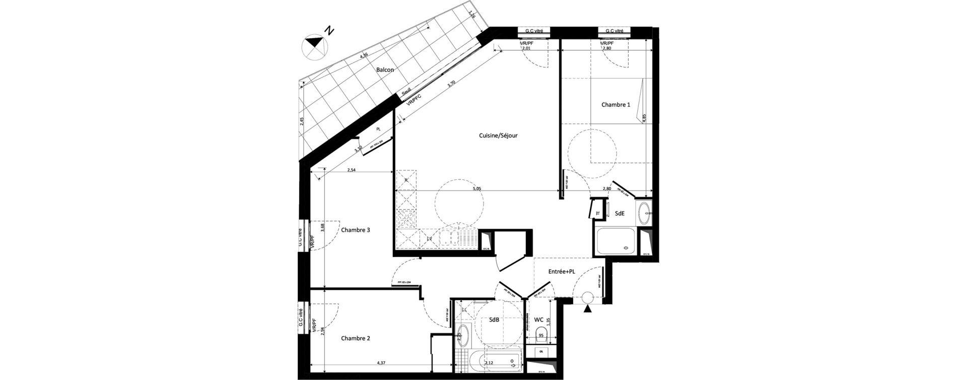 Appartement T4 de 83,38 m2 à Ferney-Voltaire Centre