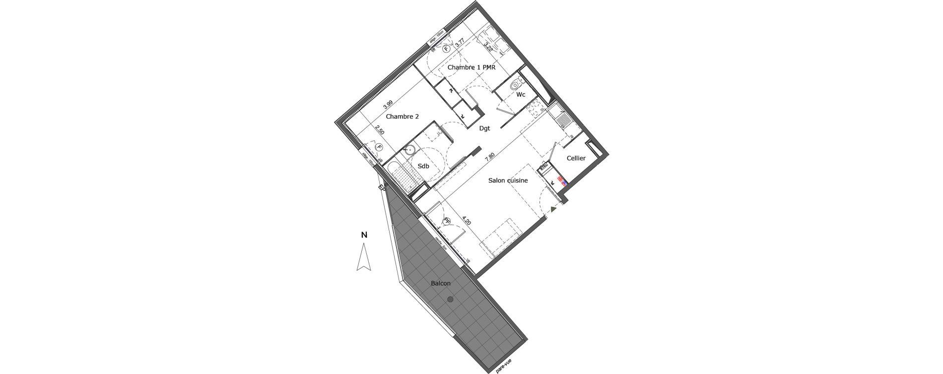 Appartement T3 de 65,15 m2 à Saint-Genis-Pouilly Centre
