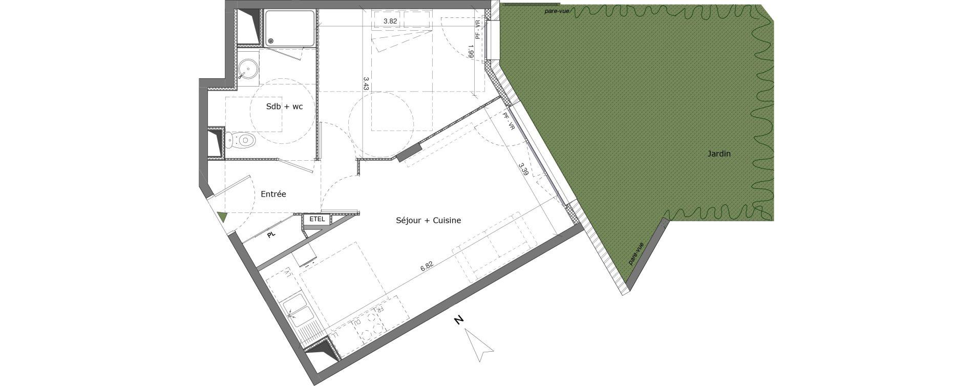 Appartement T2 de 44,65 m2 à Saint-Genis-Pouilly Centre