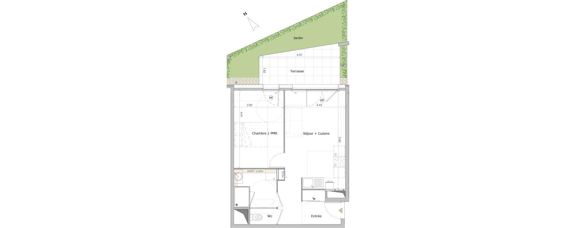 Appartement T2 de 44,91 m2 à Saint-Genis-Pouilly Centre