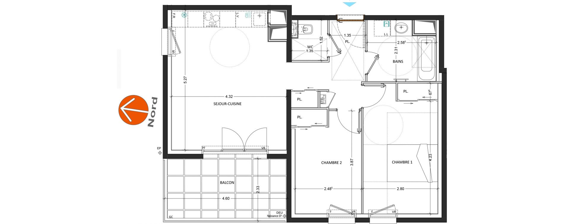 Appartement T3 de 59,09 m2 à Annecy Annecy seynod