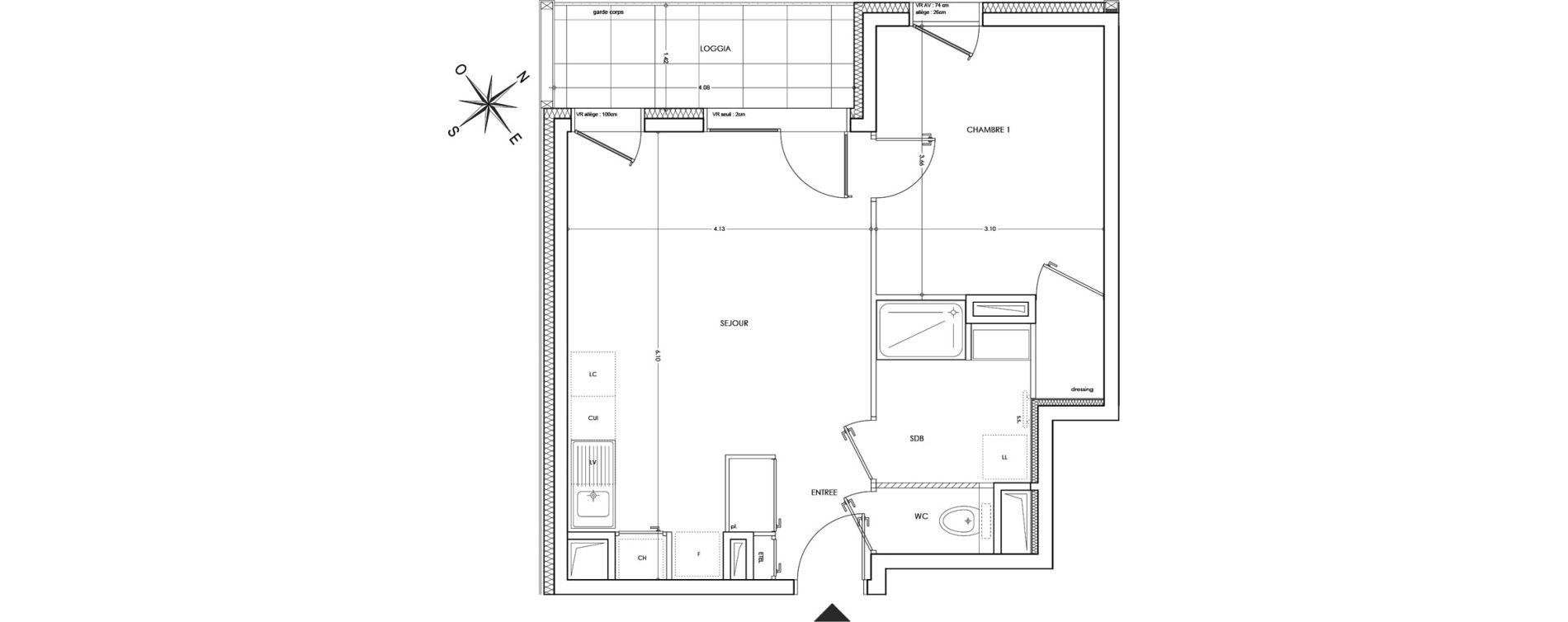 Appartement T2 de 42,99 m2 à Annecy Parc des sports - fier