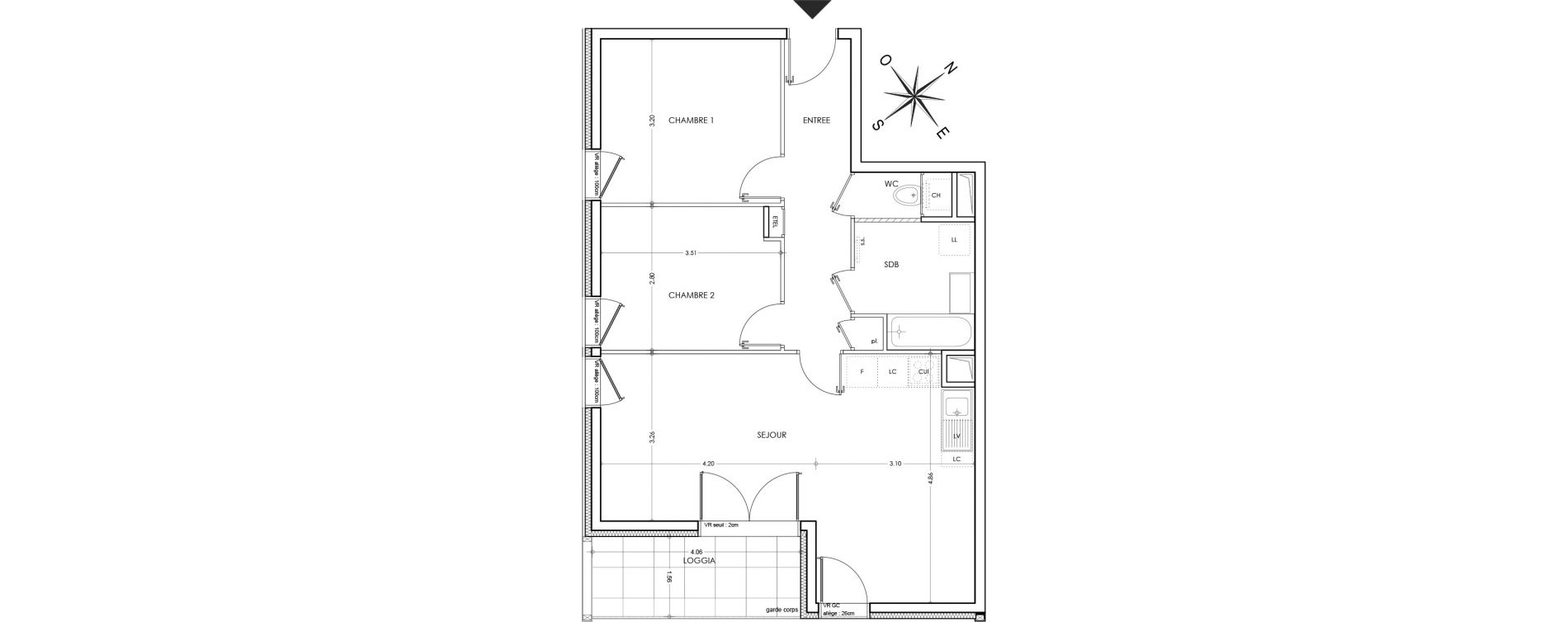 Appartement T3 de 64,18 m2 à Annecy Parc des sports - fier