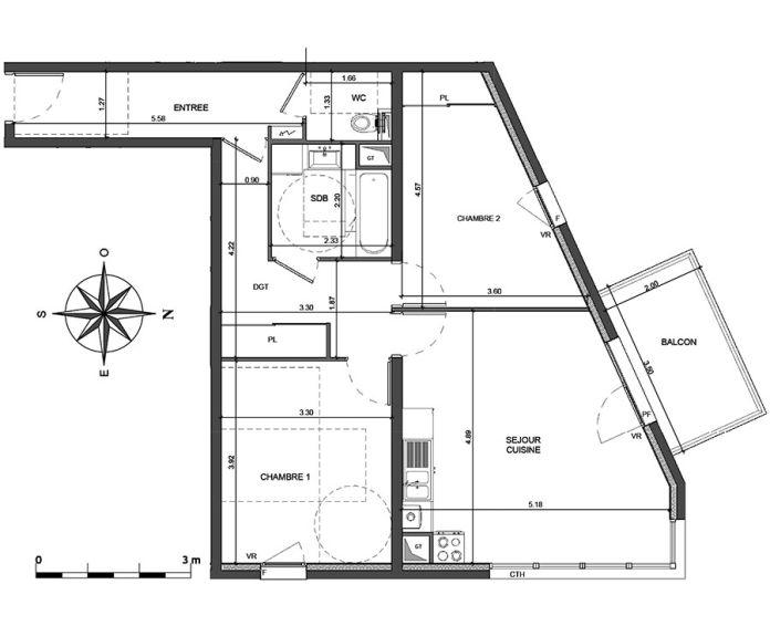 Appartement t3 annecy n 443 nord est programme for Achat maison haute savoie