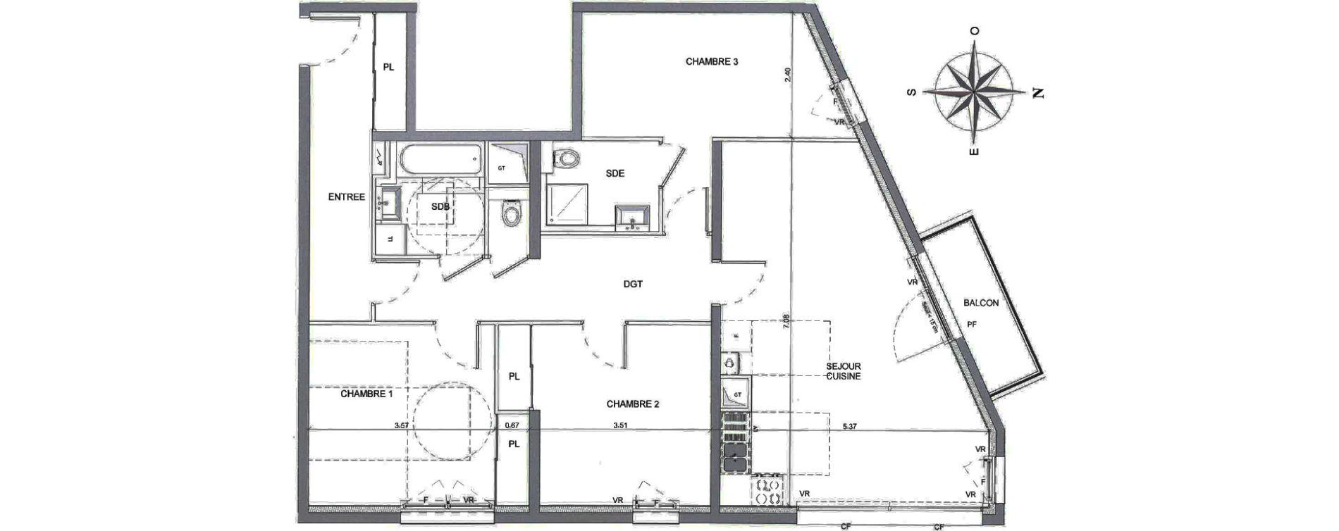 Appartement T4 de 96,01 m2 à Annecy Parc des sports - fier