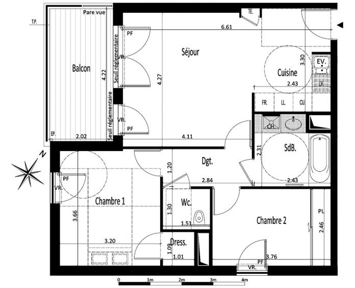 Appartement t3 annecy n 430 sud ouest programme for Plan d appartement t3