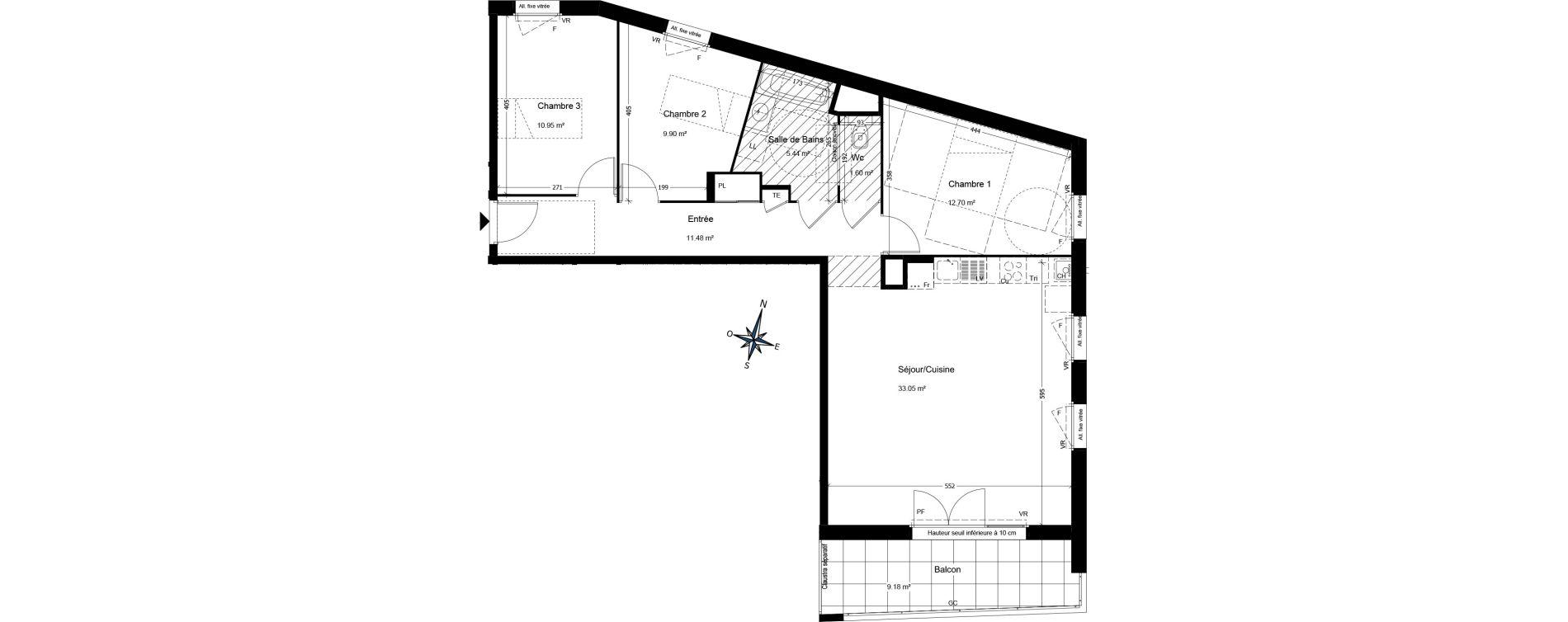 Appartement T4 de 85,36 m2 à Annemasse Centre