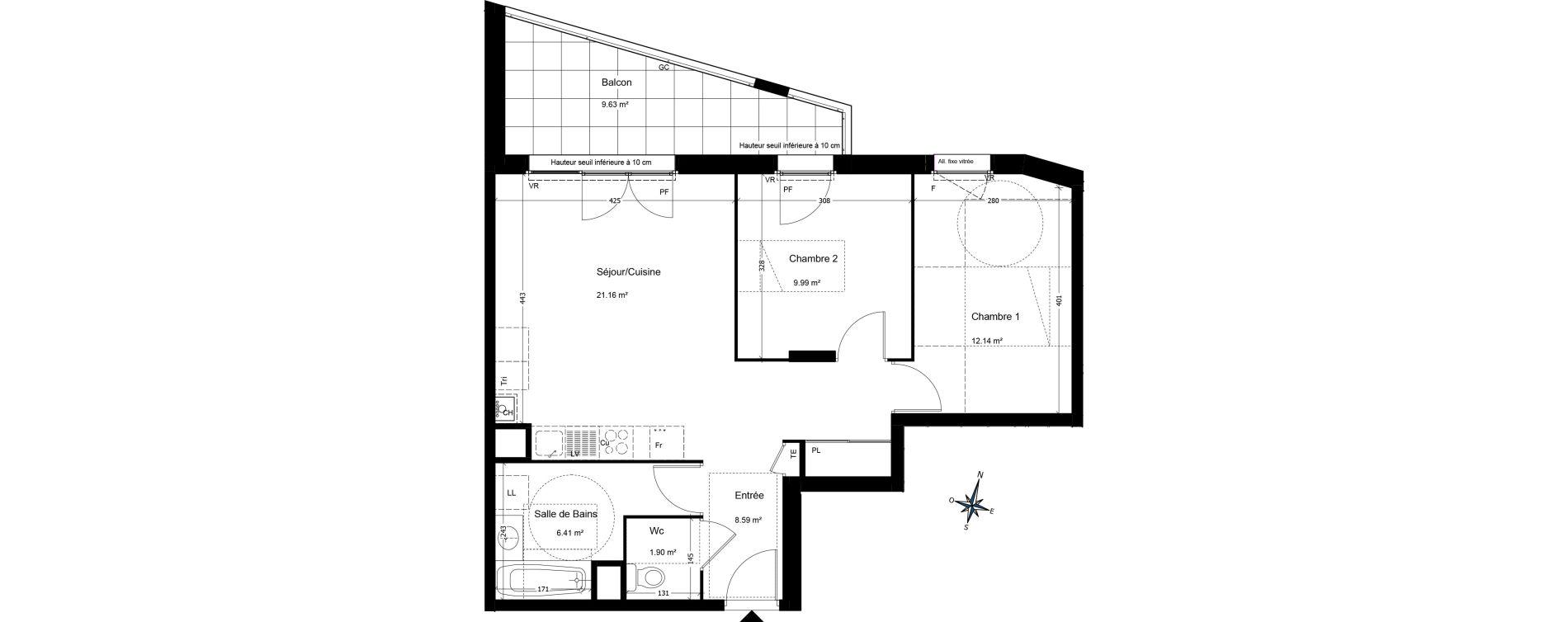Appartement T3 de 59,97 m2 à Annemasse Centre