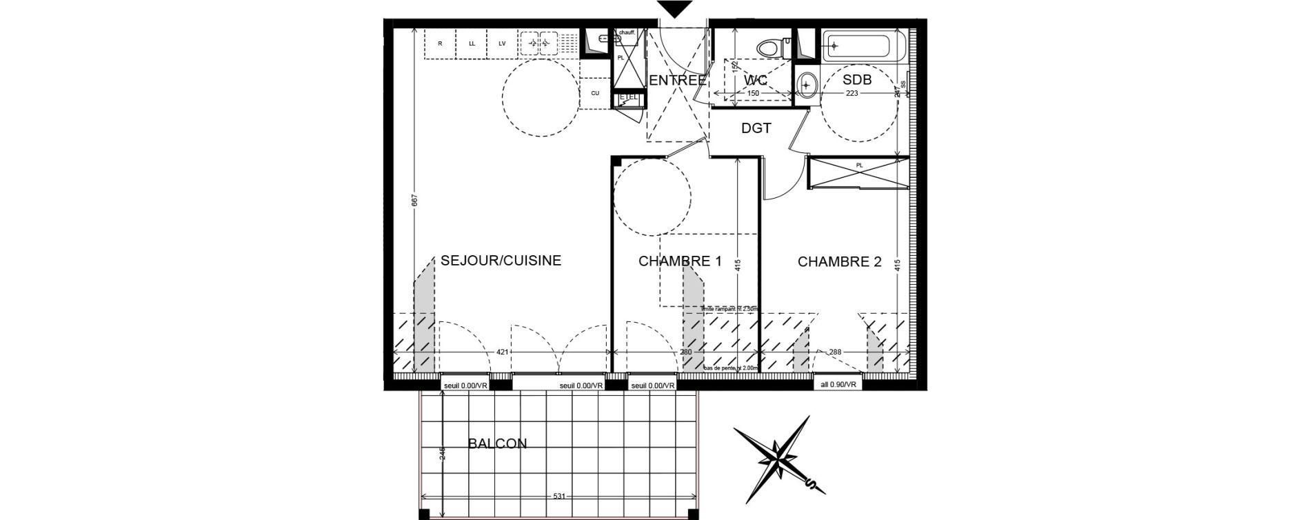 Appartement T3 de 64,52 m2 à Cranves-Sales Centre