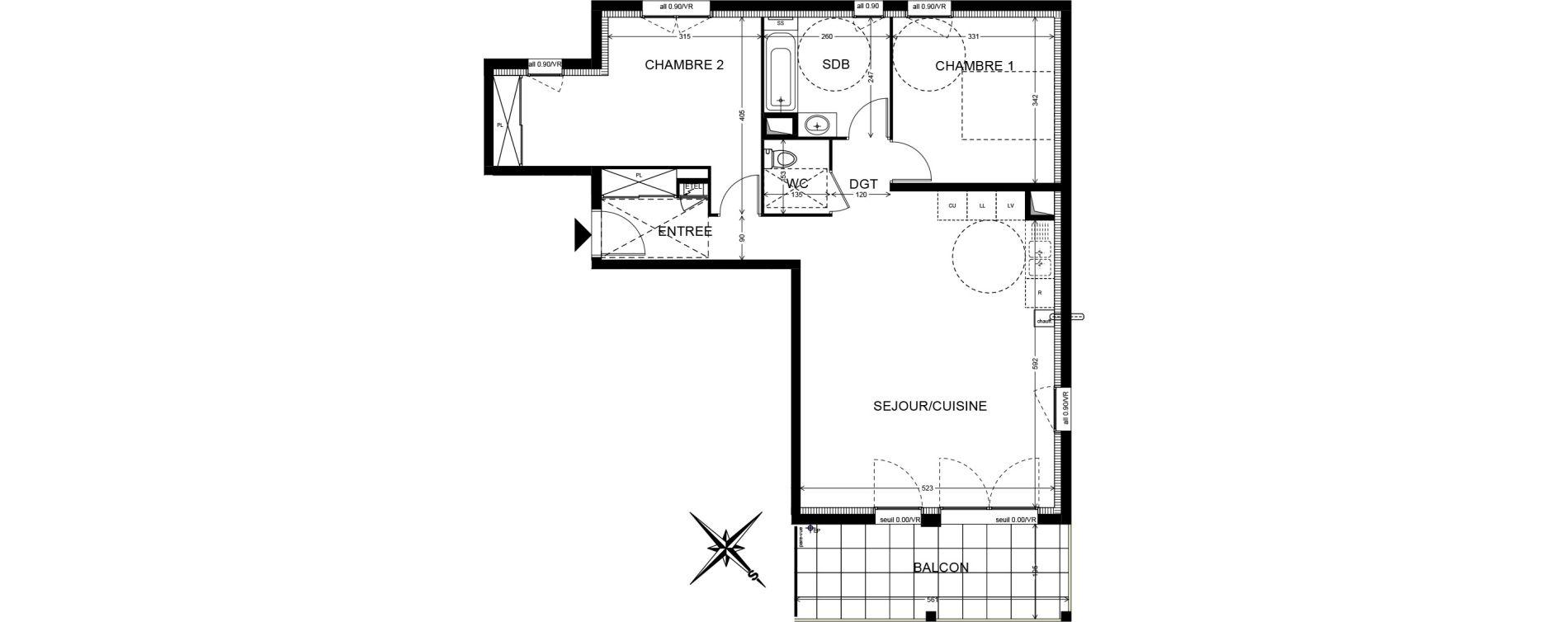 Appartement T3 de 74,94 m2 à Cranves-Sales Centre