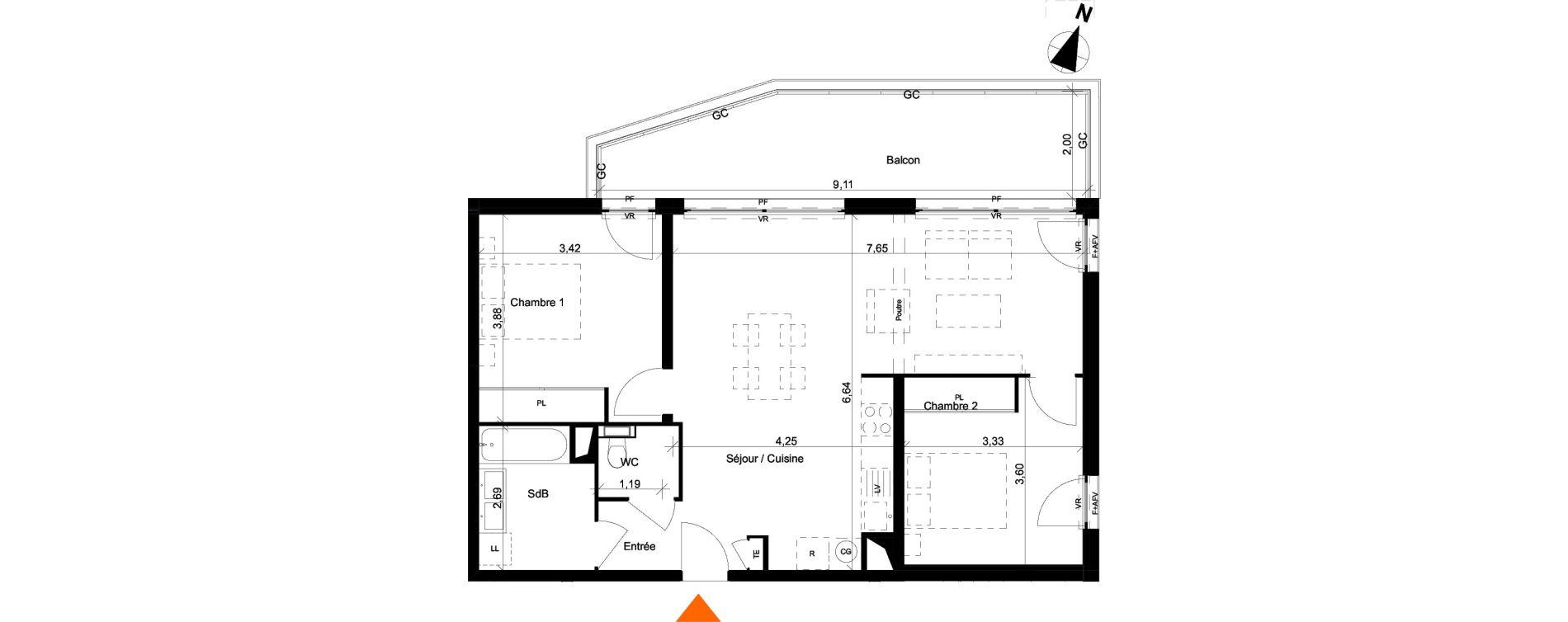 Appartement T3 de 71,58 m2 à Évian-Les-Bains Centre