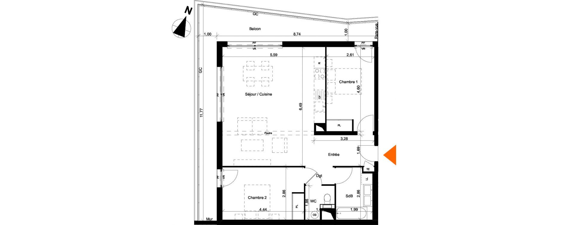 Appartement T3 de 74,85 m2 à Évian-Les-Bains Centre