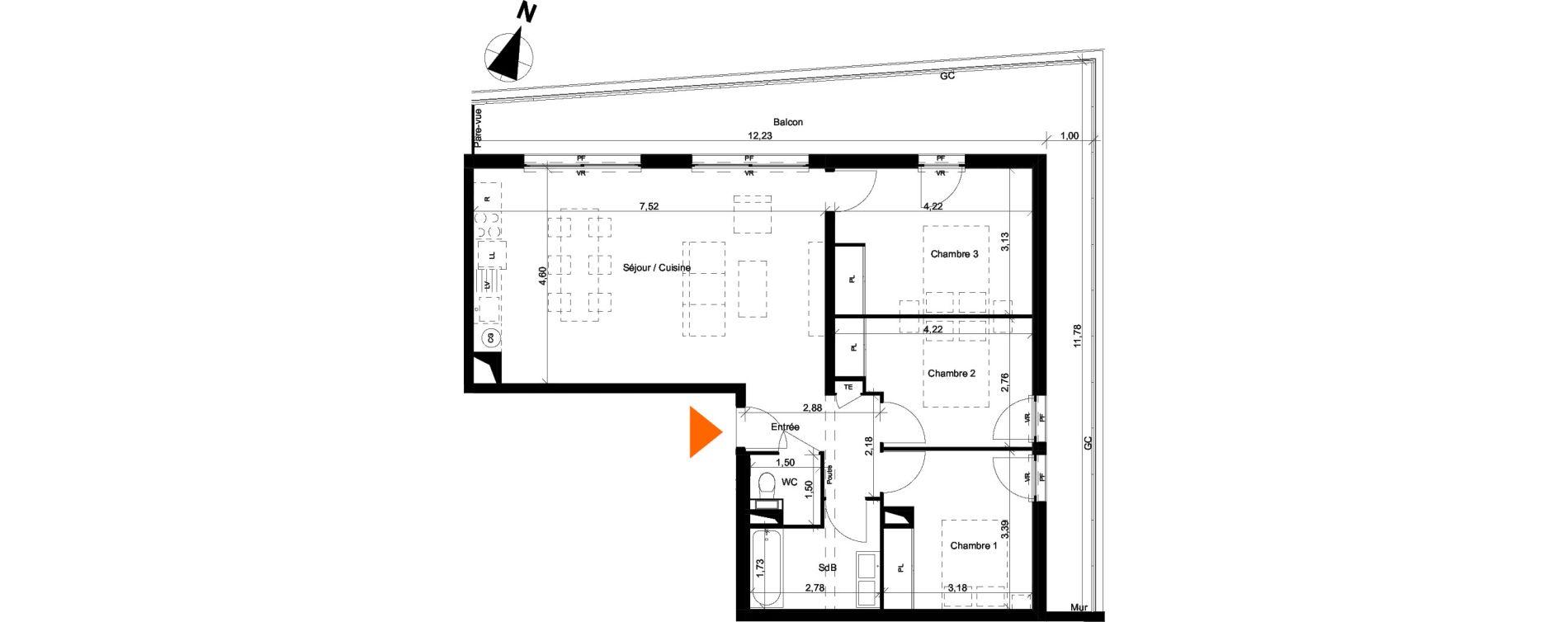Appartement T4 de 79,52 m2 à Évian-Les-Bains Centre