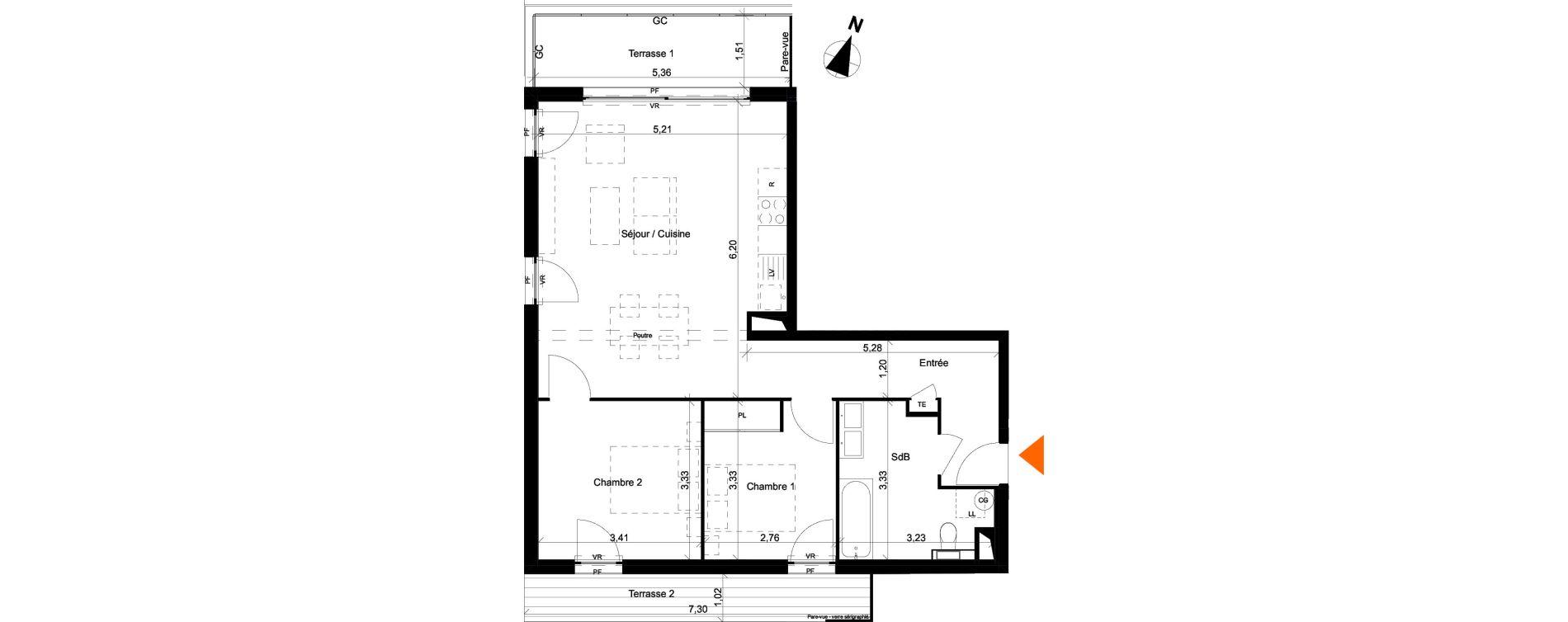 Appartement T3 de 67,34 m2 à Évian-Les-Bains Centre