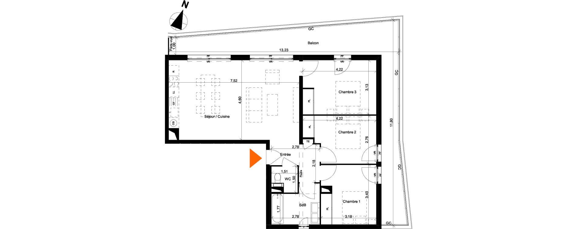Appartement T4 de 79,51 m2 à Évian-Les-Bains Centre