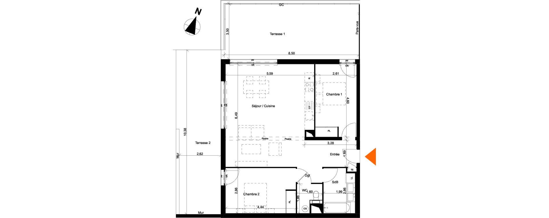 Appartement T3 de 74,84 m2 à Évian-Les-Bains Centre