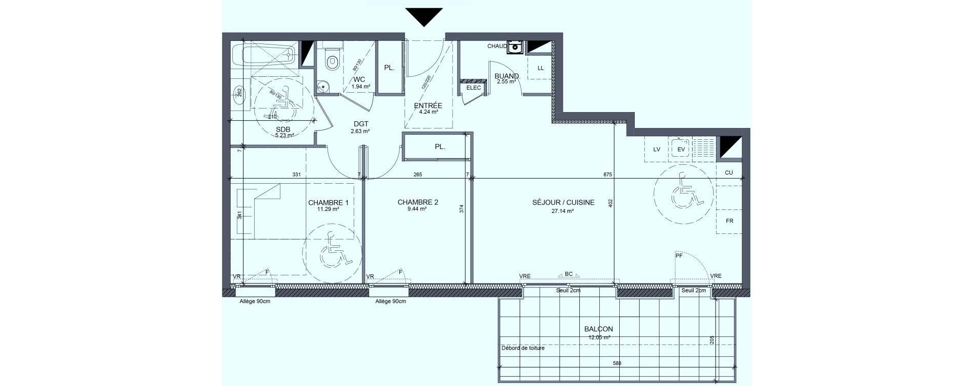 Appartement T3 de 64,67 m2 à Messery Centre