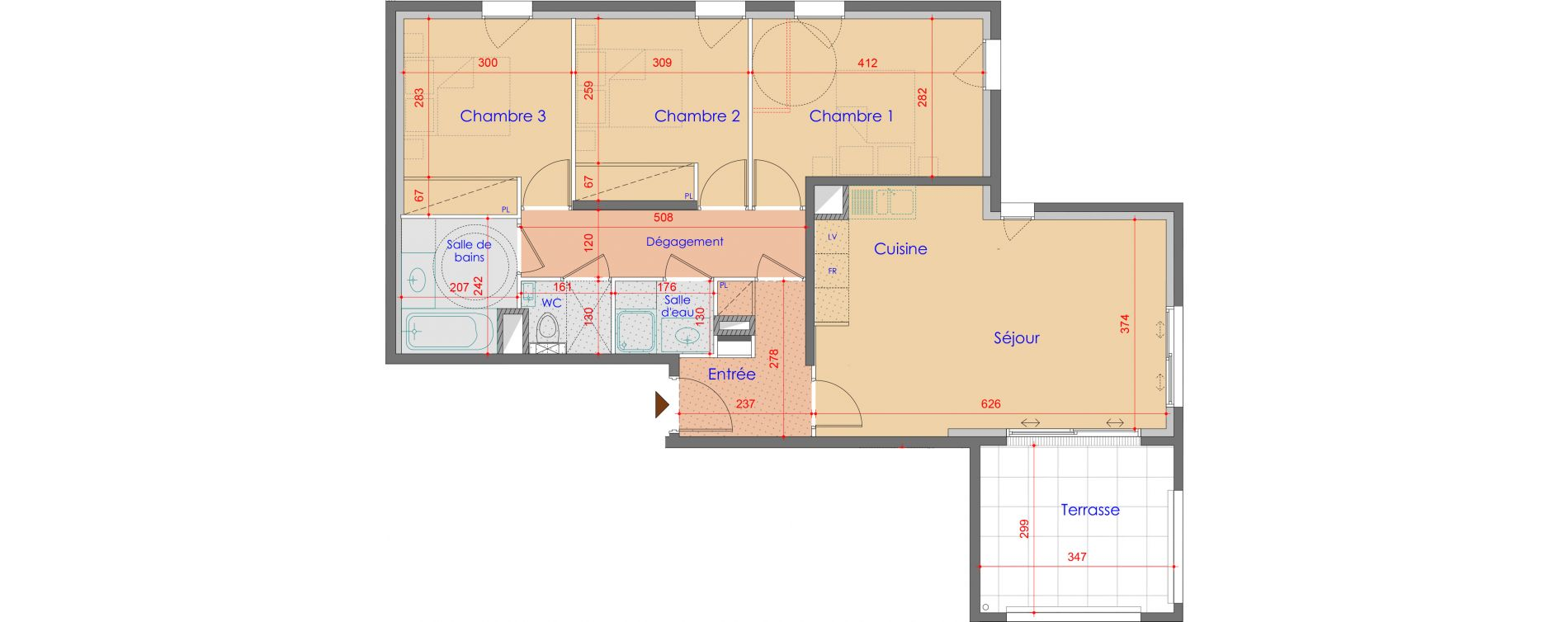 Appartement T4 de 77,68 m2 à Vétraz-Monthoux Centre