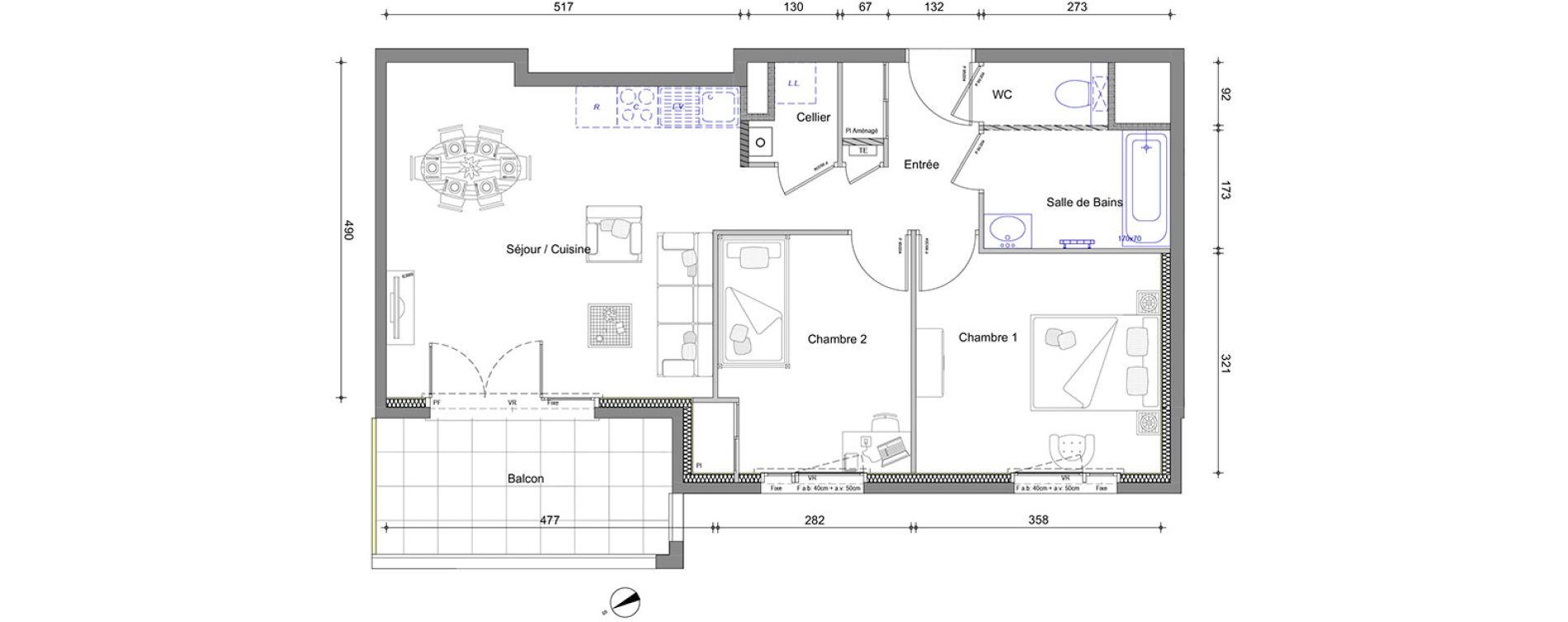 Appartement T3 de 58,66 m2 à Vétraz-Monthoux Centre