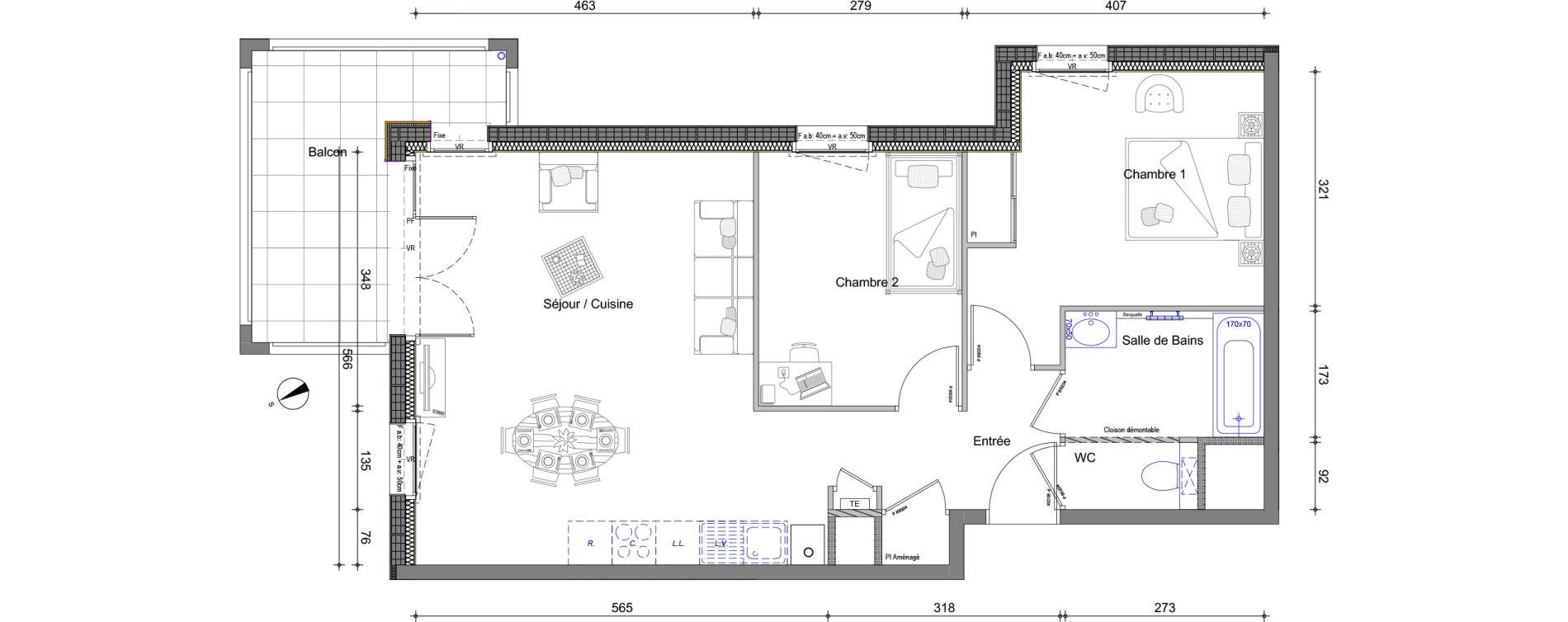 Appartement T3 de 62,79 m2 à Vétraz-Monthoux Centre