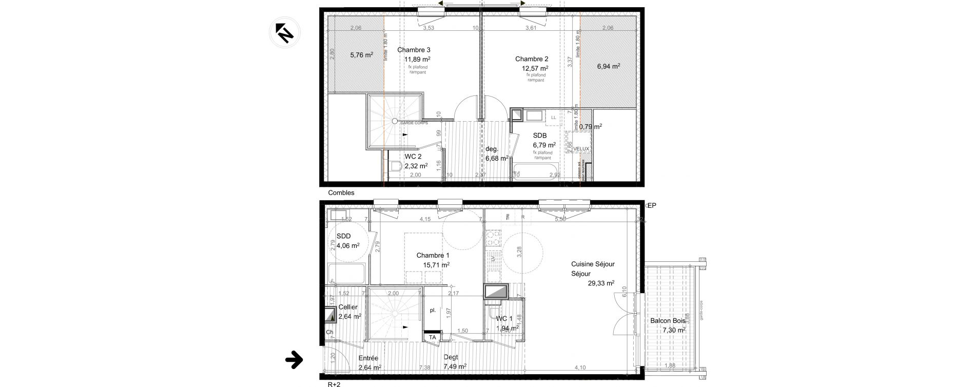 Duplex T4 de 104,06 m2 à Vulbens Centre