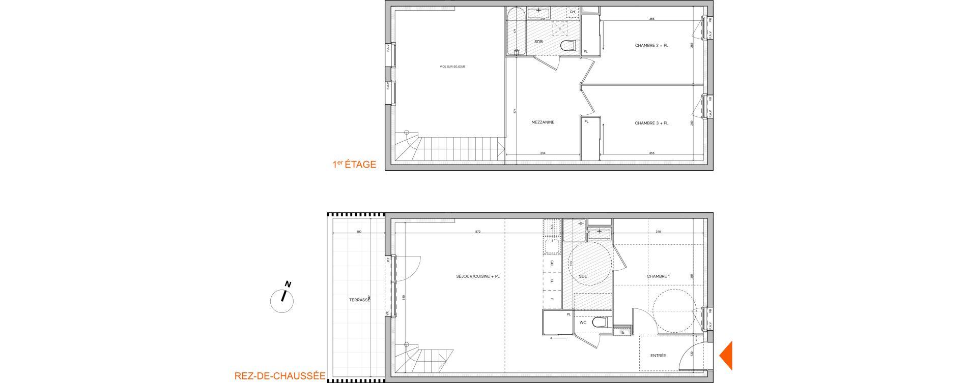 Duplex T4 de 88,60 m2 à L'Isle-D'Abeau Saint-hubert