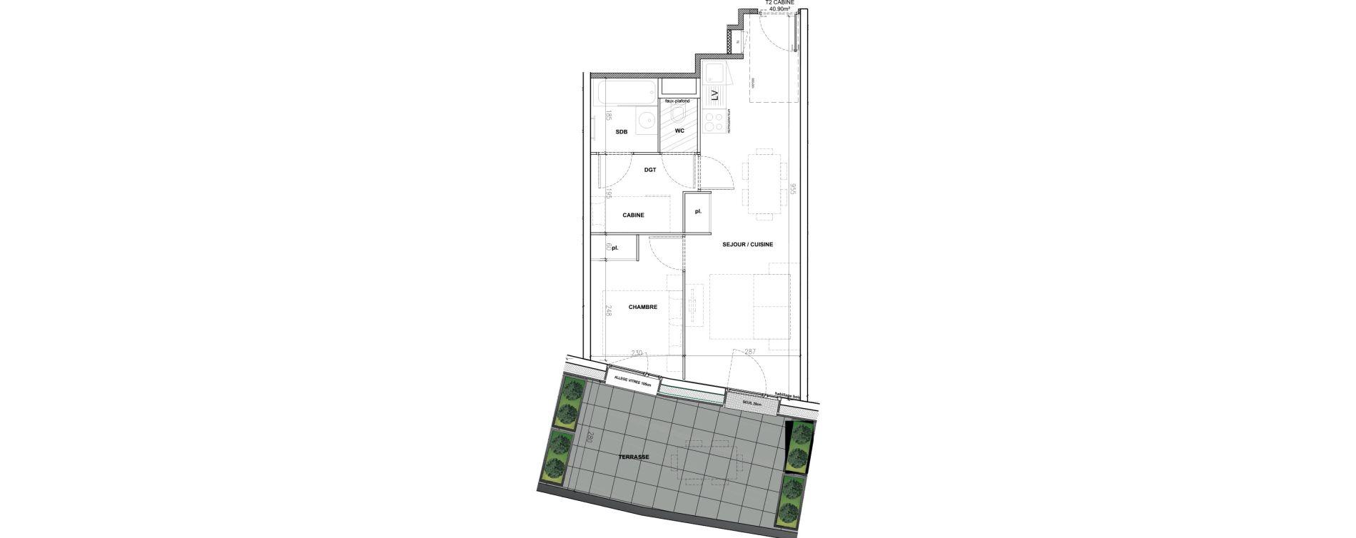 Appartement T2 meublé de 40,90 m2 à Mont-De-Lans Centre
