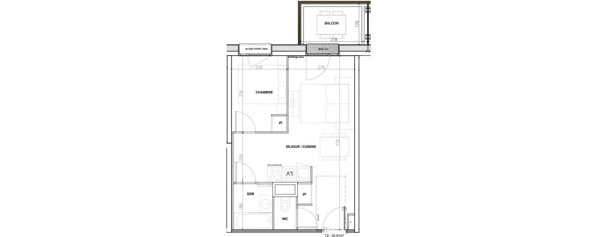 Appartement T2 meublé de 34,91 m2 à Mont-De-Lans Centre