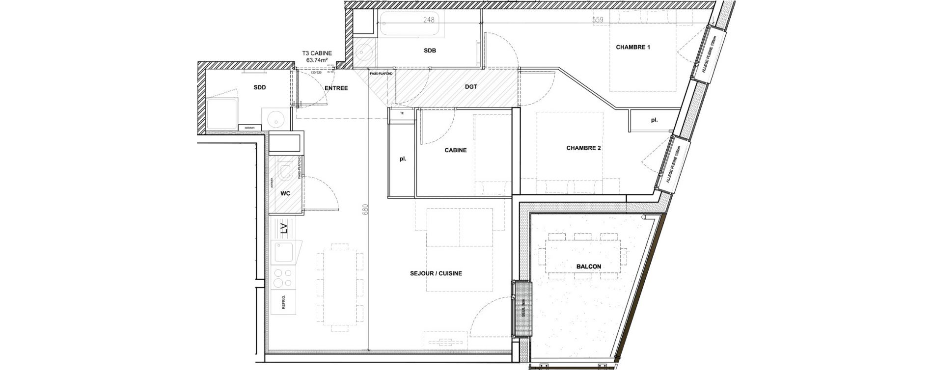 Appartement T3 meublé de 63,74 m2 à Mont-De-Lans Centre