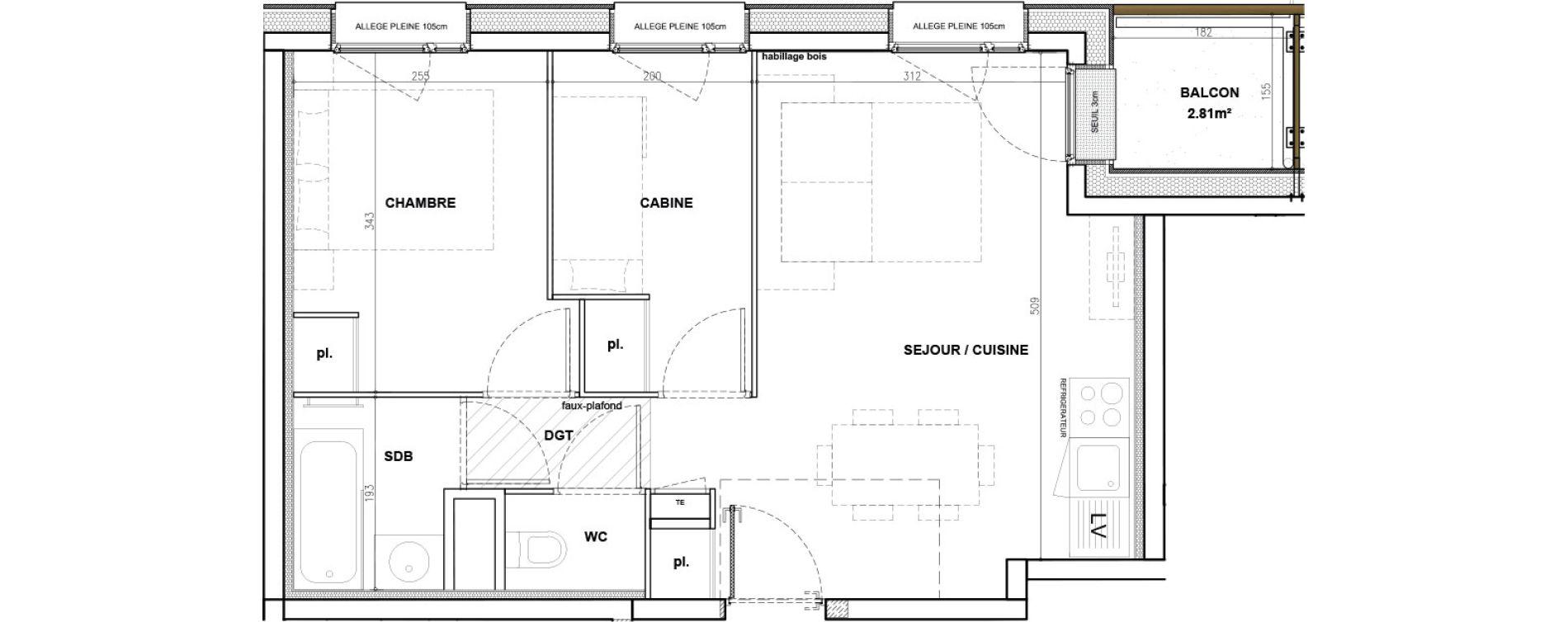 Appartement T2 meublé de 42,83 m2 à Mont-De-Lans Centre