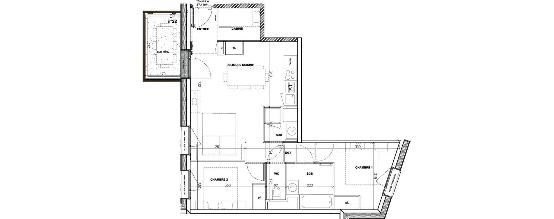 Appartement T3 meublé de 57,41 m2 à Mont-De-Lans Centre