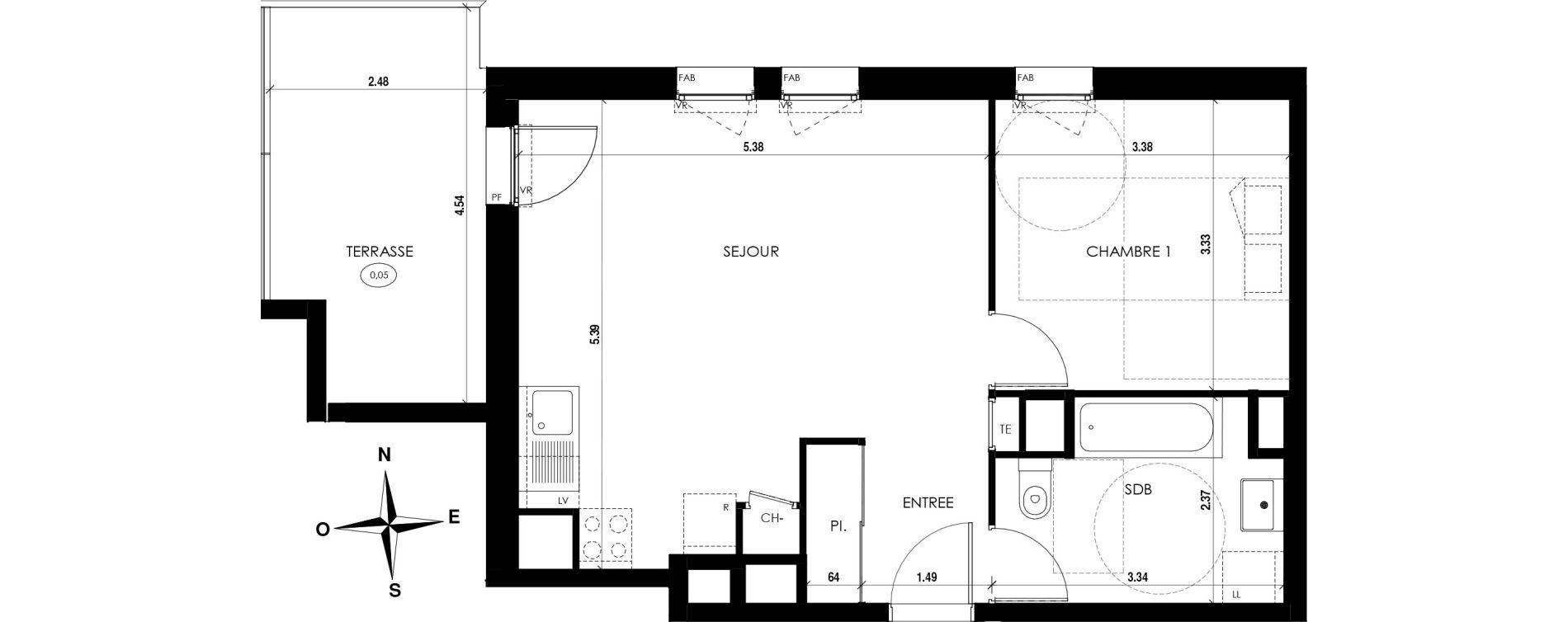 Appartement T2 de 46,71 m2 à Vienne Centre