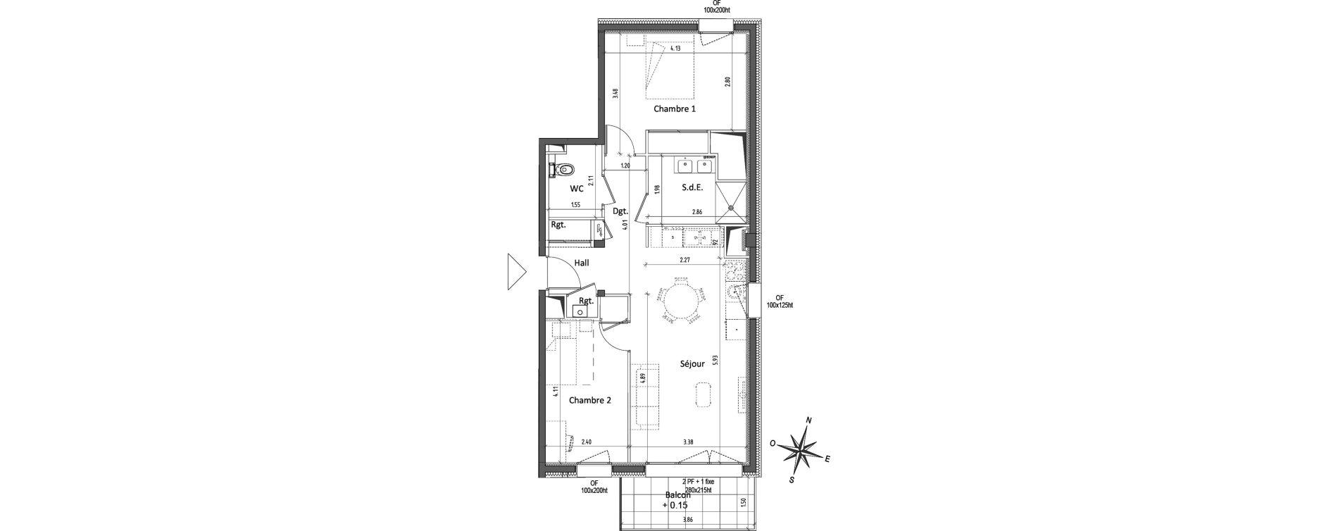 Appartement T3 de 62,49 m2 à Chamalières Centre