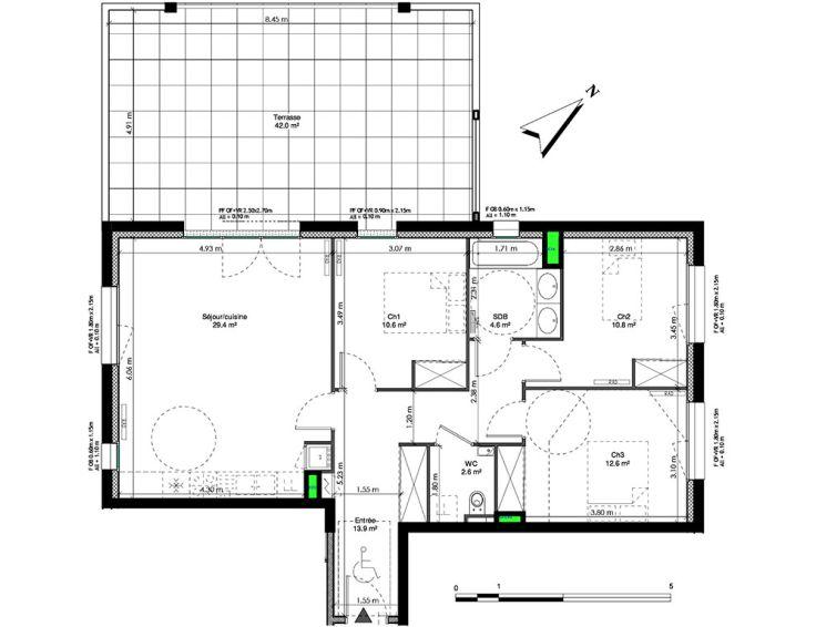 appartement t4 les jardins de la tiretaine chamali res n962. Black Bedroom Furniture Sets. Home Design Ideas
