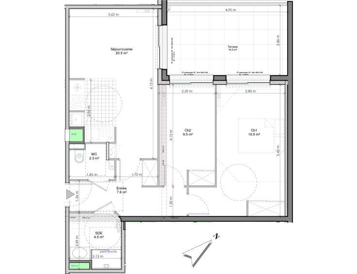 appartement t3 les jardins de la tiretaine chamali res n963. Black Bedroom Furniture Sets. Home Design Ideas