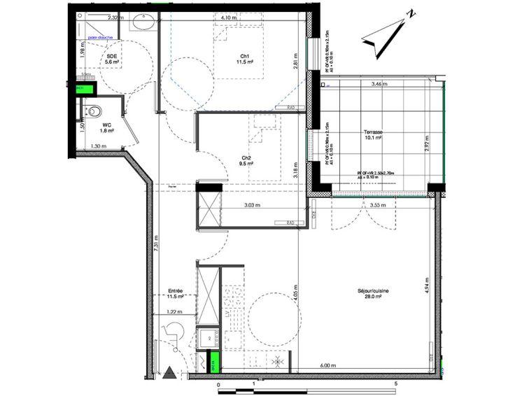 appartement t3 les jardins de la tiretaine chamali res n993. Black Bedroom Furniture Sets. Home Design Ideas