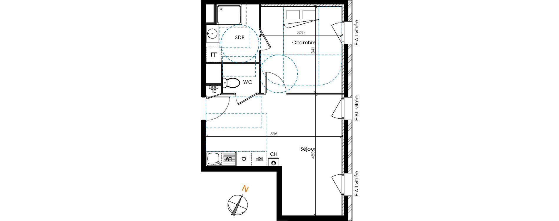 Appartement T2 de 36,98 m2 à Brignais Centre