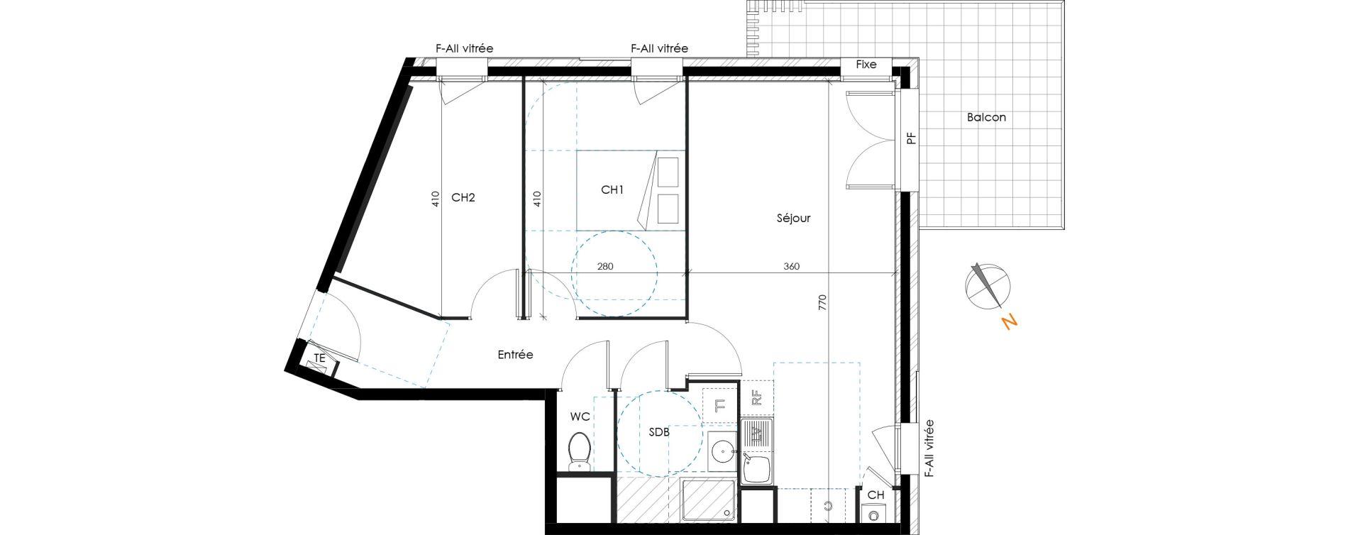 Appartement T3 de 61,01 m2 à Brignais Centre