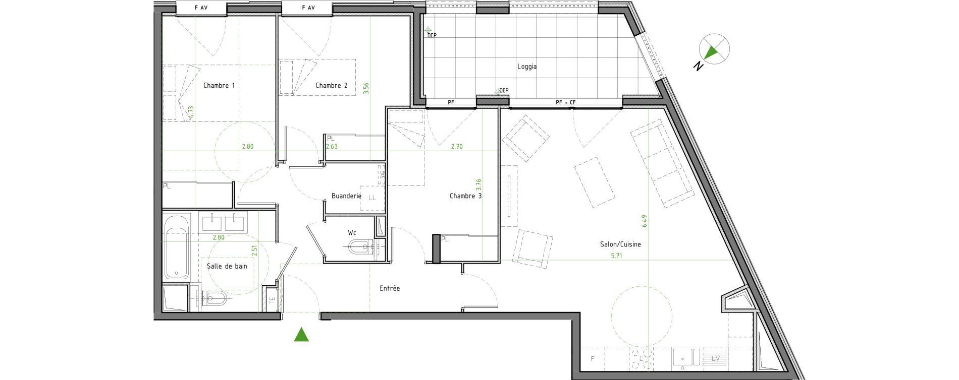Appartement T4 de 84,21 m2 à Caluire-Et-Cuire Cuire le haut