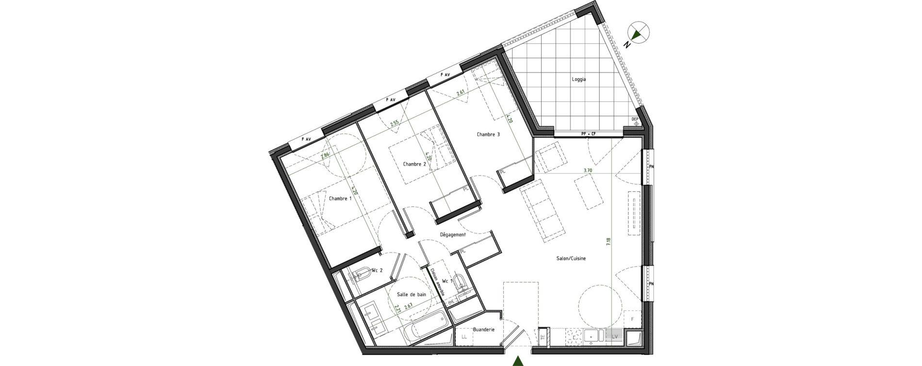 Appartement T4 de 83,51 m2 à Caluire-Et-Cuire Cuire le haut