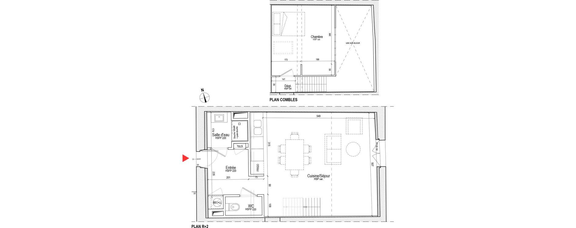 Duplex T2 de 55,21 m2 à Chassagny Centre