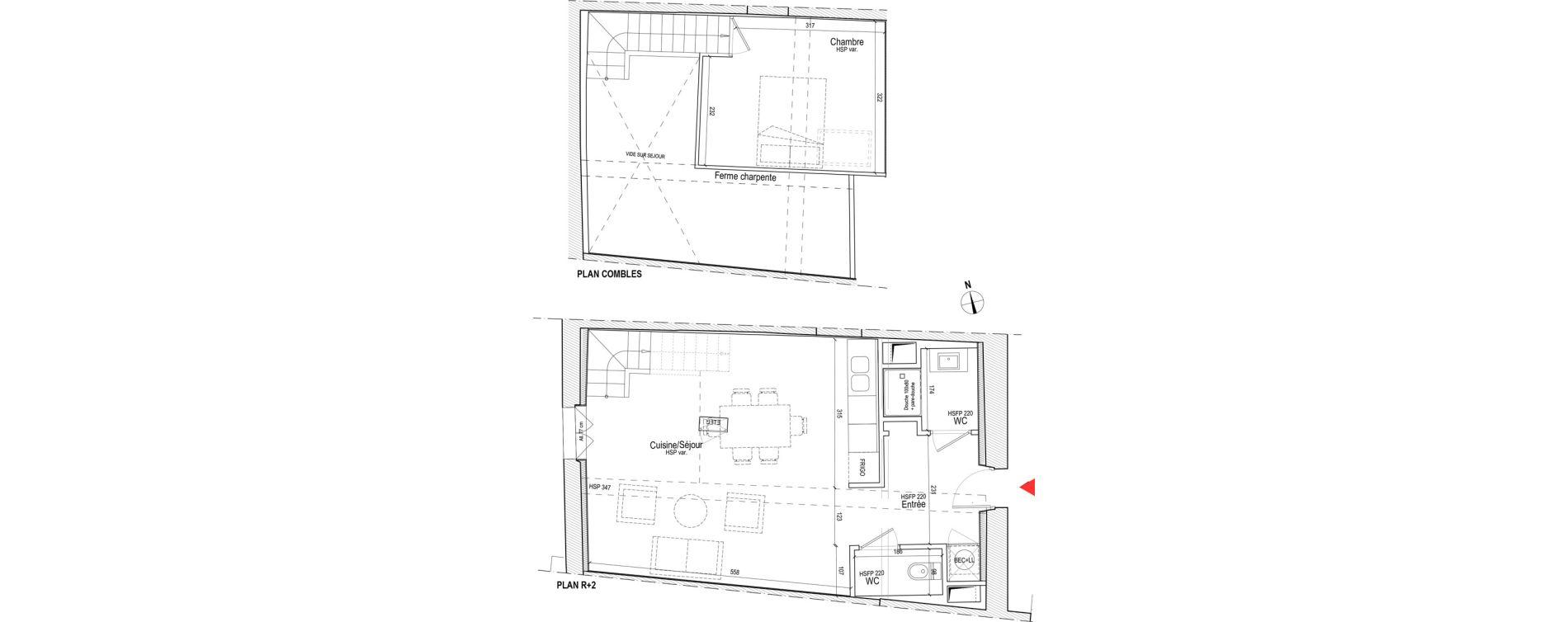 Duplex T2 de 52,03 m2 à Chassagny Centre