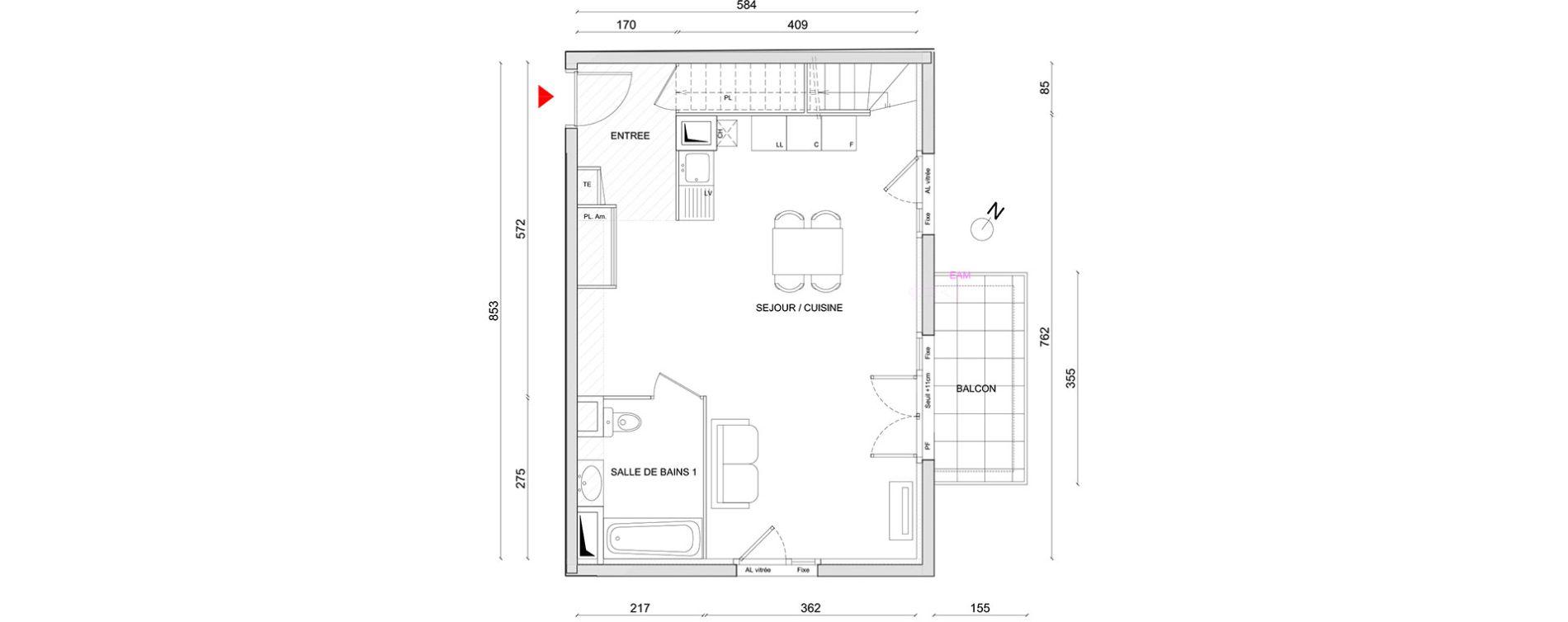 Appartement T4 de 57,00 m2 à Corbas Centre